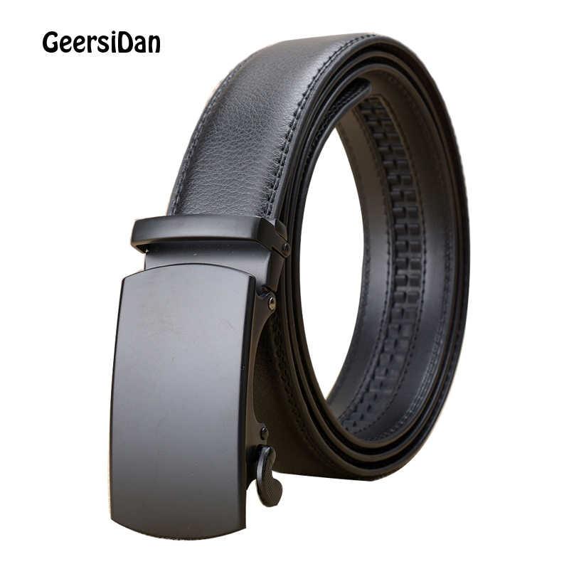 GEERSIDAN 2018 хорошие ремни для мужчин бренд 100% Корова Натуральная мужской кожаный ремень Мужская пряжка из сплава ремни Cinturones Hombre