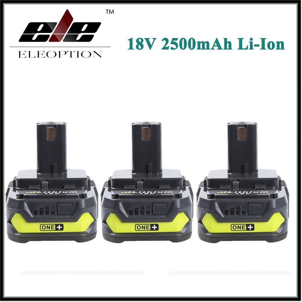 Eleoption 3x 18V 2500mAh Li Ion Rechargeable Battery For Ryobi RB18L25 One Plus for font b
