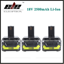 Eleoption 3x 18V 2500mAh Li Ion Rechargeable Battery For Ryobi RB18L25 One Plus for power tools