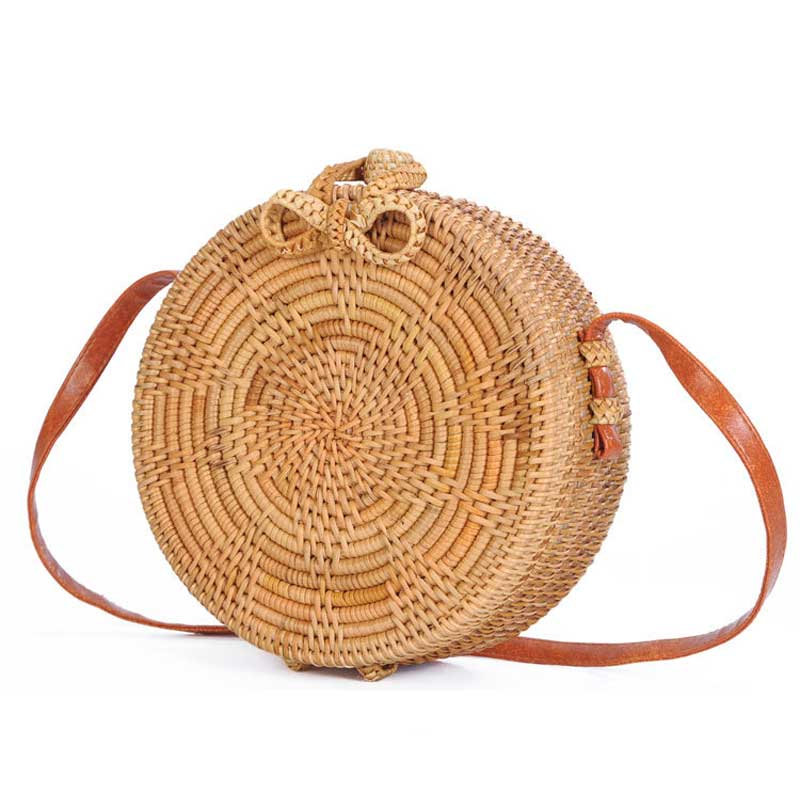 Bali Island Hand-Woven Bag Straw Purse Handmade Wicker Crossbody Beach