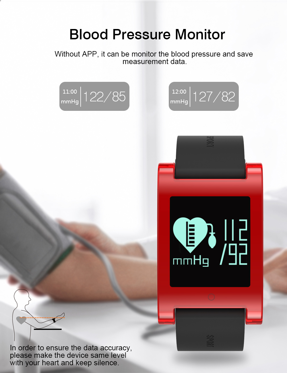 LEMDIOE DM68 waterproof smart band wristband fitness tracker Blood Pressure heart rate monitor Calls Messages watch for phone 7
