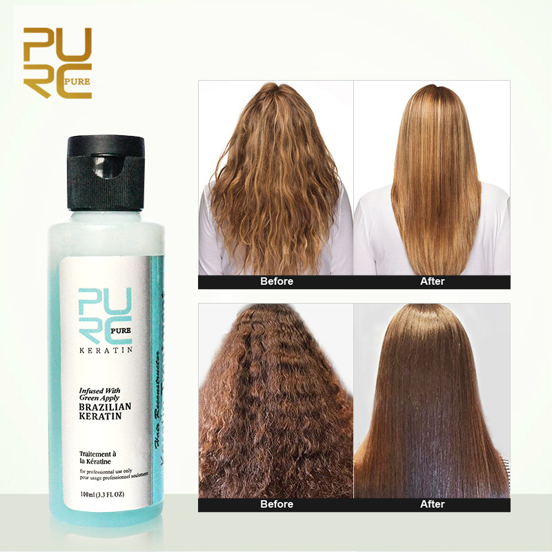 100ML PURC 3.7% Apple Flavor Brazilian Keratin Treatment Straightening Repair Damage Frizzy Hair Improve Dry Hair Care Products
