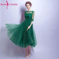 美容エミリーグリーンプラスサイズのイブニングドレス2017 oネックアップリケスパンコールチュール女