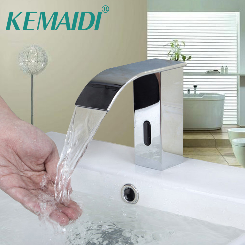 KEMAID Bathroom Faucet Chrome Polished Automatic Faucets Waterfall Mixer Hand Free Bathroom kitchen Washbasin Tap free shipping polished chrome finish new wall mounted waterfall bathroom bathtub handheld shower tap mixer faucet yt 5333