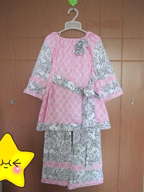 Основная оптовая продажа одежда девушки бутик экипировка розовый цветок топ с поясом дамасской хлопковые брюки дети римейк комплектов одежды BT043