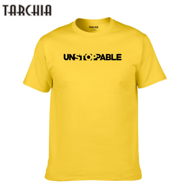 TARCHIA 2019 Print Men Tees Tops Casual T Shirt unstopable Men new Cotton Slim Fit T shirt Homme sleeve Top Spring fashion