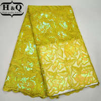 H&Q Yellow African Net Lace Fabric Nigerian French Lace Fabric High Quality Tulle Lace Fabric Embroidered with Sequins For Dress