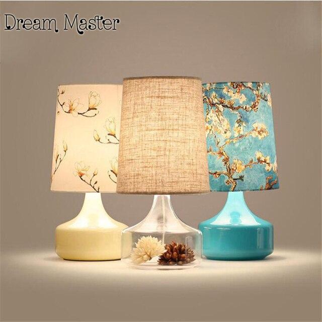 Nordic breve tessuto stampato lampada da tavolo camera da letto ...