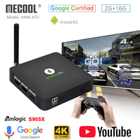 MECOOL Android tv KM8 ATV Google Voice Control Smart TV Android 8.0 Amlogic S905X 2GB DDR3 16GB TV BOX Bluetooth 4.2 Set Top Box