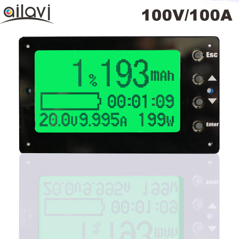 TF03 Large Screen 100V 100A Battery Capacity Tester Indicator Coulometer Lithium/Lead-Acid Universal Battery Meter цена