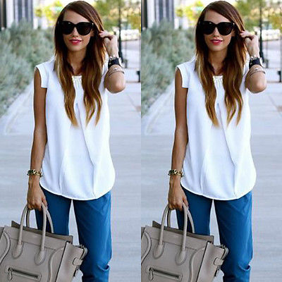 2016 New Design Casual Blouses Womens Summer Tops White Fashion Sleeveless Simple Tops Chiffon Blouse shirt