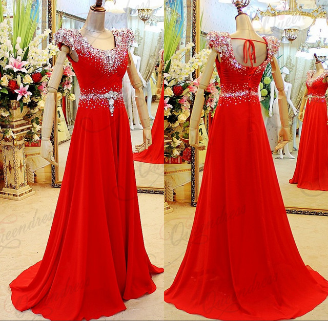 Dubai Beading Cap Sleeve Silver Beading Low Cut Sequins Beading Red ...