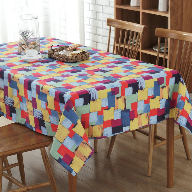 Colorful Plaid Table Cloth Rectangular Oil Painting Graffiti Cotton Linen  Dustproof Table Cloth Wedding Hotel Bar