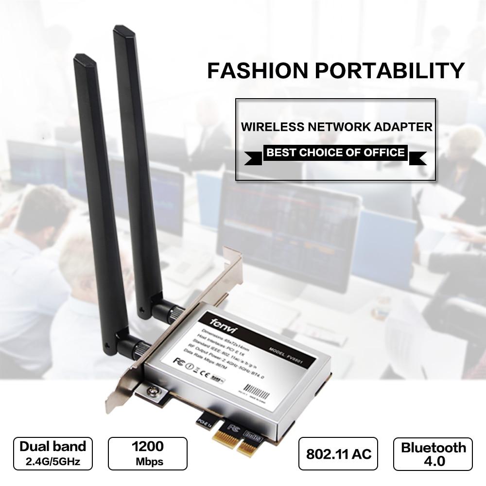 Desktop Dual band 867Mbps 802.11ac Intel 7260 AC1200 Wireless PCI-E Wifi Bluetooth Card PCI Express Antenski adapter Wi-fi + BT 4.0
