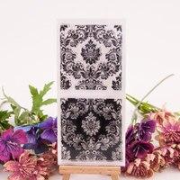 Flores textura transparente claro selo de silicone para selo diy scrapbooking álbum de fotos decorativo folhas de carimbo claro