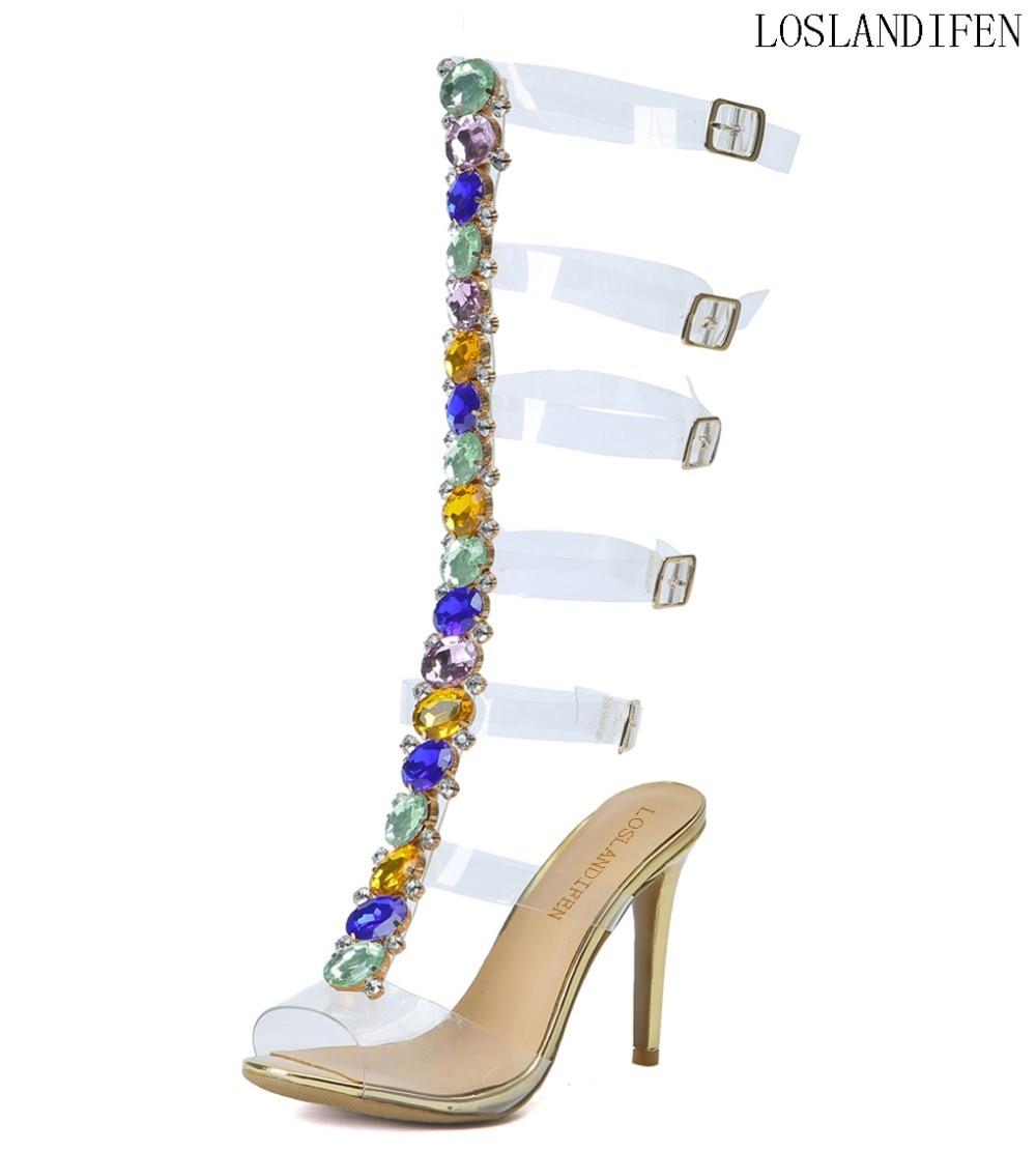 Sandales Femmes Mode Talon Cristal Nouvelle Pvc N052 toe Sexy Cuir Perles Boucle Open Sangles Chaussures Main Chaîne De En Haute XIrUXq