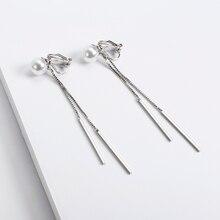 Korean Fashion Imitation Pearl Long Tassel Clip on Earrings Without Piercing Ear Clips Wholesale Jewelry Earrings for Female