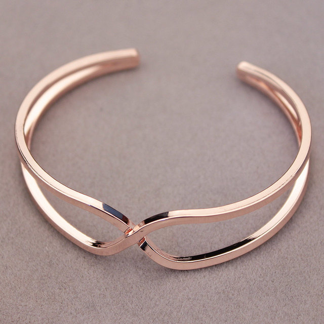 New Elegant Unique Design Female Jewelry Rose Gold Simple Metal Cuff Bracelets Bangle Open Charm Bracelet For