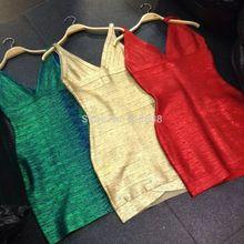 ; Новое поступление года; высокое качество; цвет зеленый, красный, золотой; платье до колена с v-образным вырезом без рукавов; платье-бандаж+ костюм