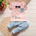 2016 новых летом Мальчиков Одежда Джентльменский набор детей костюмы 2 шт. с коротким рукавом малышей детская одежда новорожденного