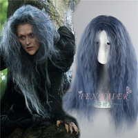 Halloween Women Role play Into the Woods Cosplay Wig The Witch Kinky Curly Gray mix Blue Long Styled Hair costumes