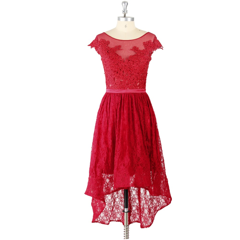 2019 Red Lace Appliques Sashes O-neck Short Sleeves High Low A-line Zipper Formal Junior   Prom     Dress