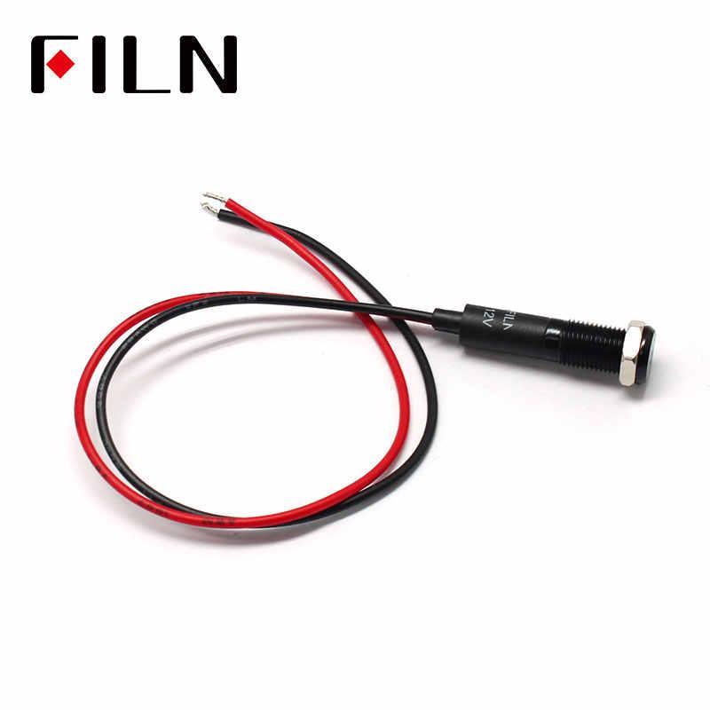 FILN 8mm Auto dashboard nebelscheinwerfer symbol led rot gelb weiß blau grün 12 v led anzeige licht mit 20 cm kabel