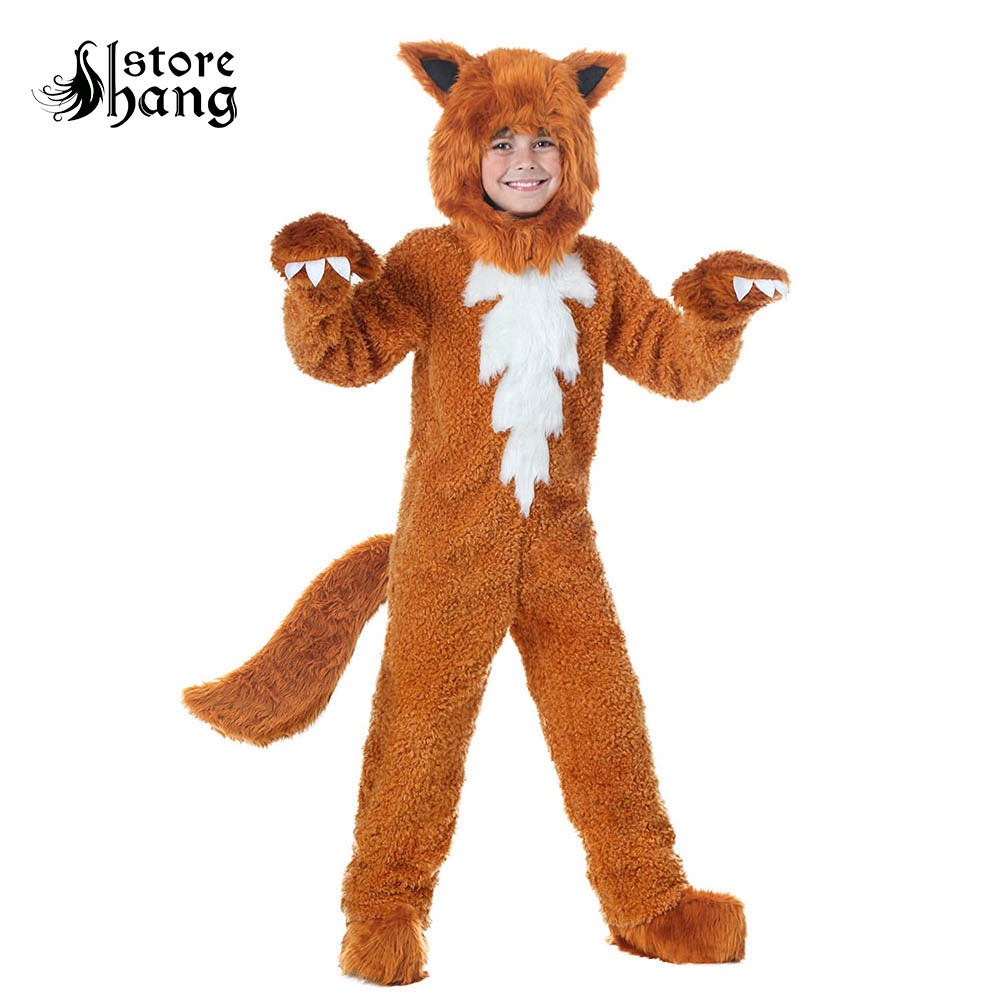 Kids Fox Costume Cute Animal Onesies  What the Fox Say Halloween Fancy Dress Furry Jumpsuit Pamajas with Hood Gloves Outfit