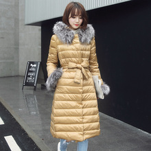 Luxury Large Fox Fur Hooded Parka For Women Winter 2016 X-long Thicking Long Duck Down Jacket Women Brand Slim Coat Women