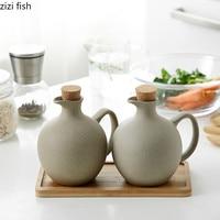 2pcs/set Japanese Style Ceramics Spice Jar Oil Can Wooden Stopper Soy Sauce/vinegar Bottle Flagon Family Kitchen Supplies 500ml
