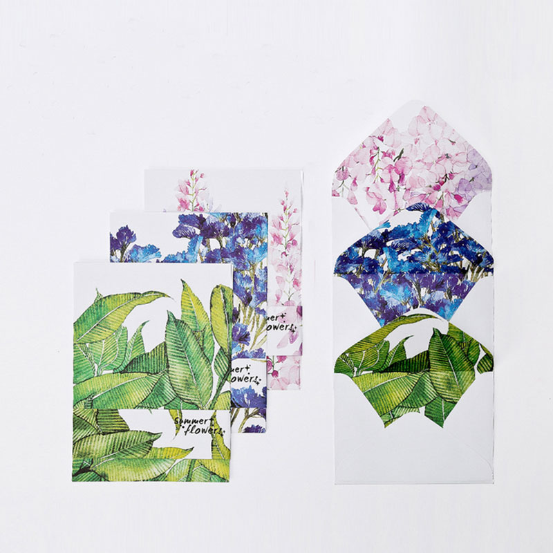 Kawaii 12 Sheet Letter Paper+ 6 Pcs Envelopes Leaves And Flowers Letter Pad Set Writing Paper Office&School Supplies