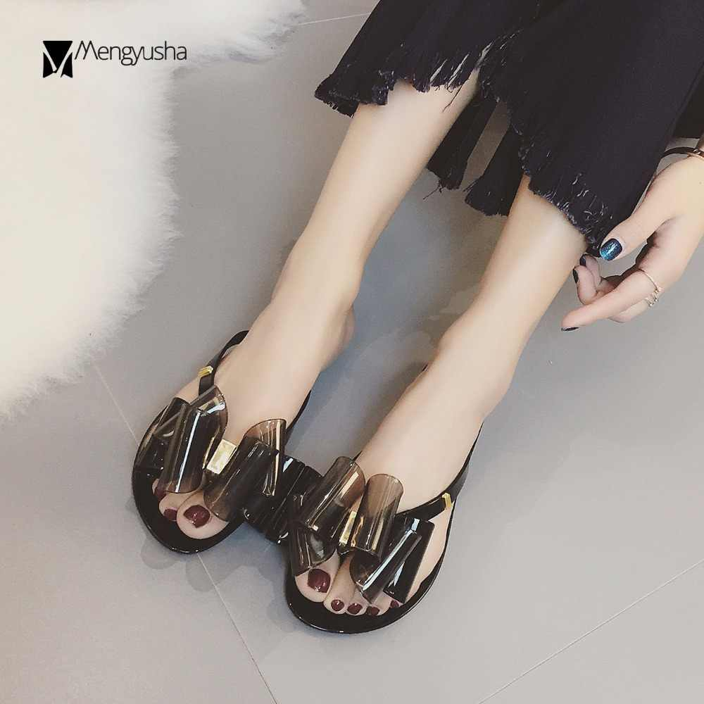 f2223e09064 3D plastic bow slippers women gladiator sandals flat bow-knot beach shoes  woman pvc flip