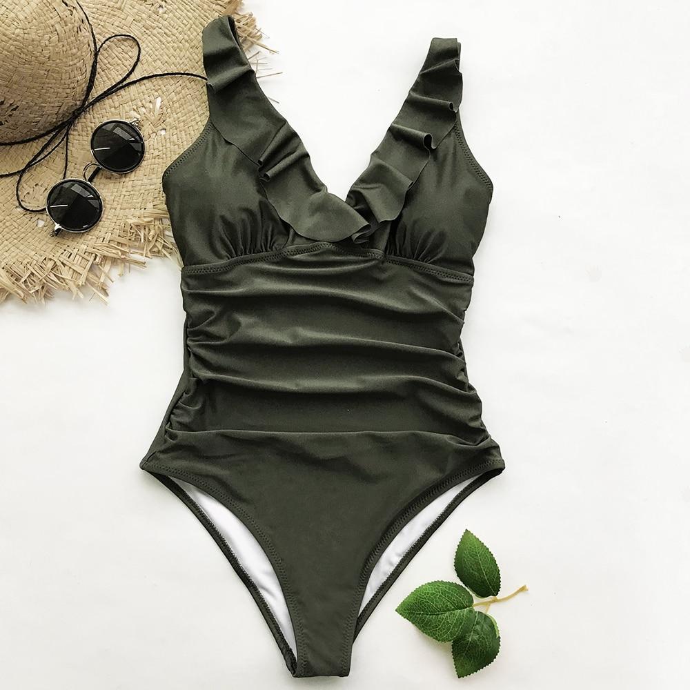 Cupshe Sense Your Fragrance Falbala One-piece Bikini Push Up Bathing Suit Swimwear Brazilian Biquini Monokini Maillot De Bain
