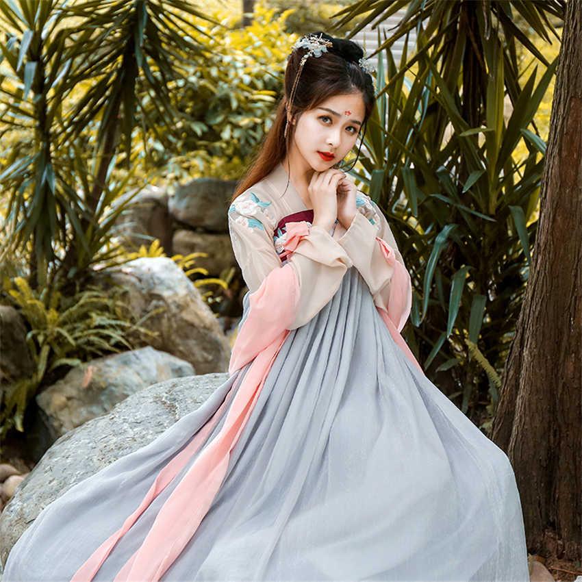 Традиционная китайская одежда для женщин Hanfu платье феи древняя династия Хань принцесса Национальный сценический народный танец фестиваль наряд