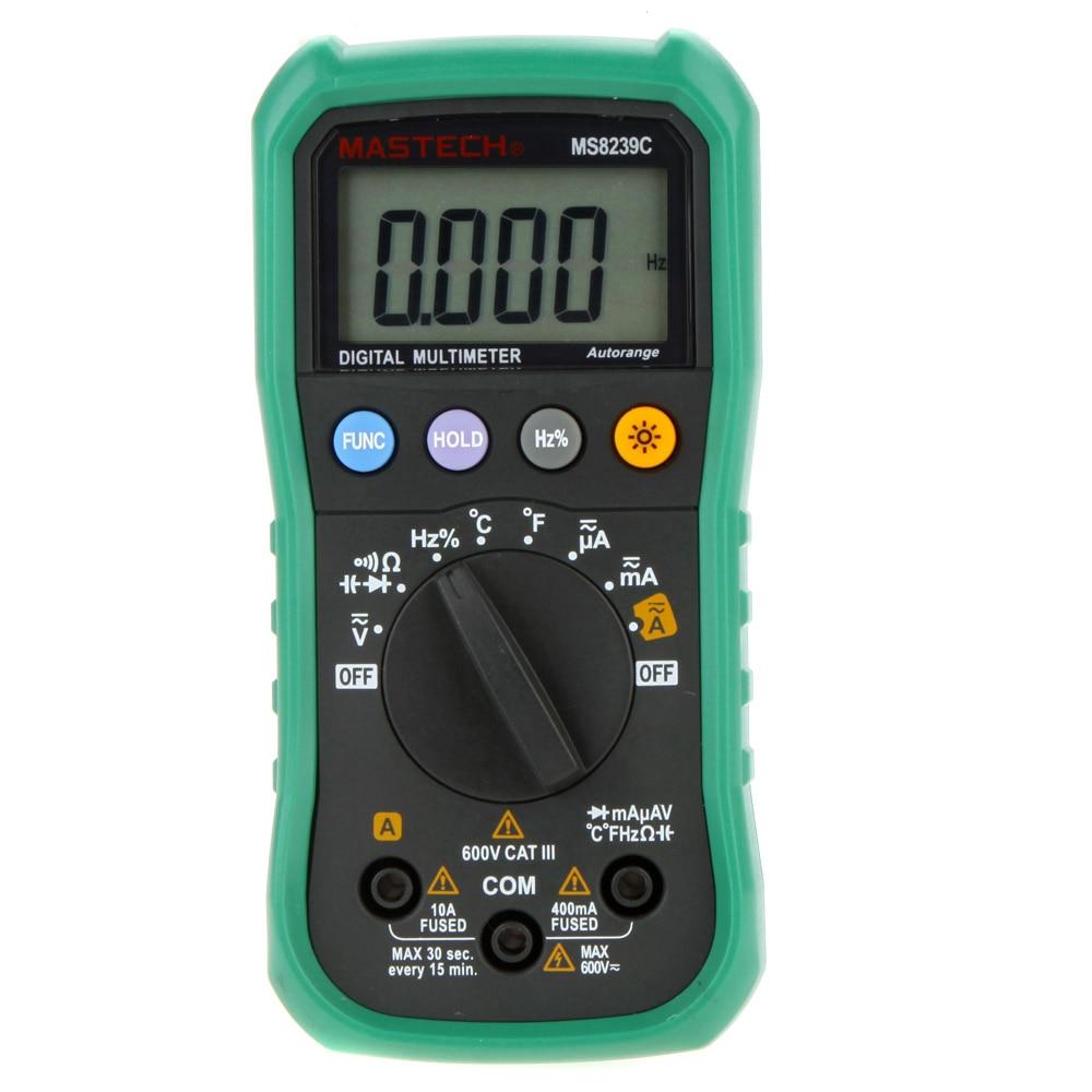 5PCS whosale MASTECH Digital Multimeter MS8239C Backlight AC/DC Ammeter Voltmeter Ohm Portable Meter auto range amperemeter мультиметр mastech ms8239c