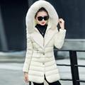 2016 wadded jacket female medium-long large fur collar slim thin fashion outerwear Plus size M-3XL female Parkas