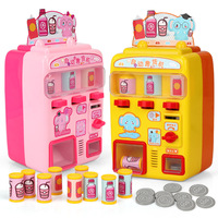 Vending Machine Pretend Play Mini Simulation Creative Automatic Funny Voice with Coin Bottle Kid Furniture Toys Set Gift Cosplay