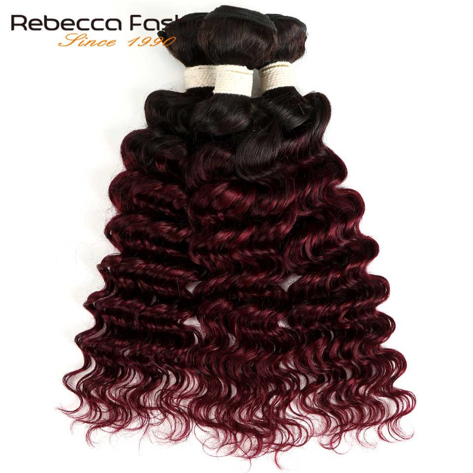 Ребекка эффектом деграде (переход от темного к индийские волосы глубокая волна пучки волос 3/4 шт. волосы Remy 2 тон Цвет T1B/27 # T1B/30 # T1B/99J # 100% человеческие волосы пучки волос