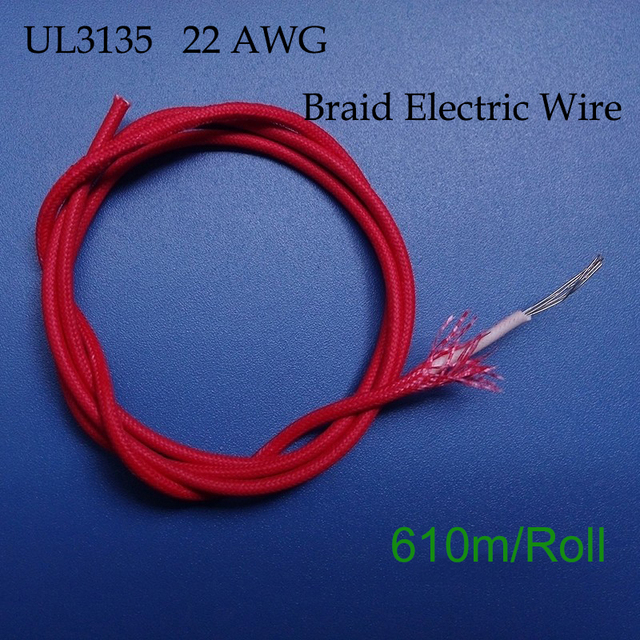 610m/Roll UL3135 22AWG Braid Electrical Wire,Silicone Rubber Cloth ...