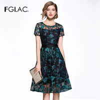 FGLAC New Arrivals 2018 Summer Vintage Vestidos Fashion Elegant Slim short sleeve Embroidery party dress Hollow out dresses
