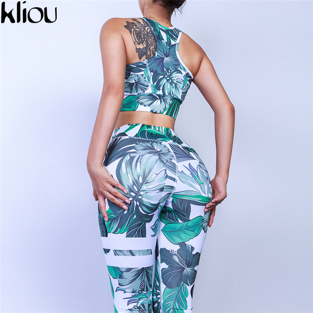 2c49e6820b Kliou 2018 New Women Flare Fitness 2 Piece Set Top And Pants 4 Colors  Flower Print O-Neck Off Shoulder Sweatshirt Sweat Suit