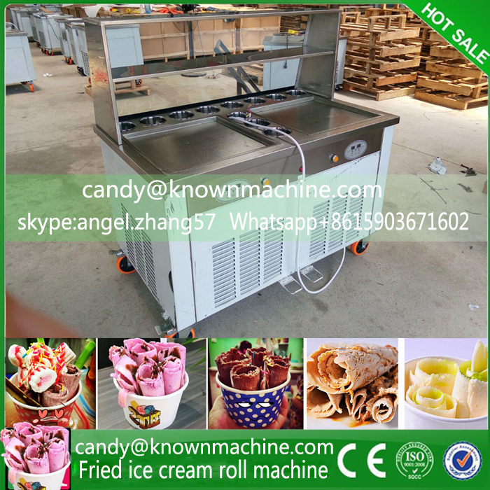 110V double pan fried icecream machine frying ice rolls maker with 11 tanks with temperature can