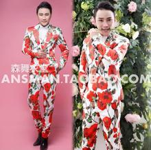 S-5XL ! 2017 Men's new slim fashion 3D Rose Satin suit singer costumes stage formal dress plus size clothing