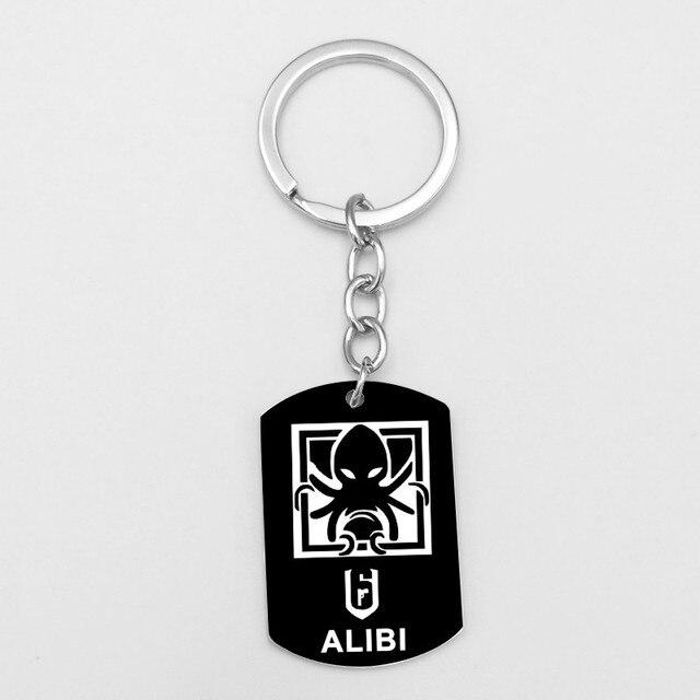 New Game Rainbow Six 6 Siege Key Chains Skull BLACKEARD BANDIT ALIBI ASH FINKA IQ FUZE DOC Stainless Steel Keychain Key Ring 2