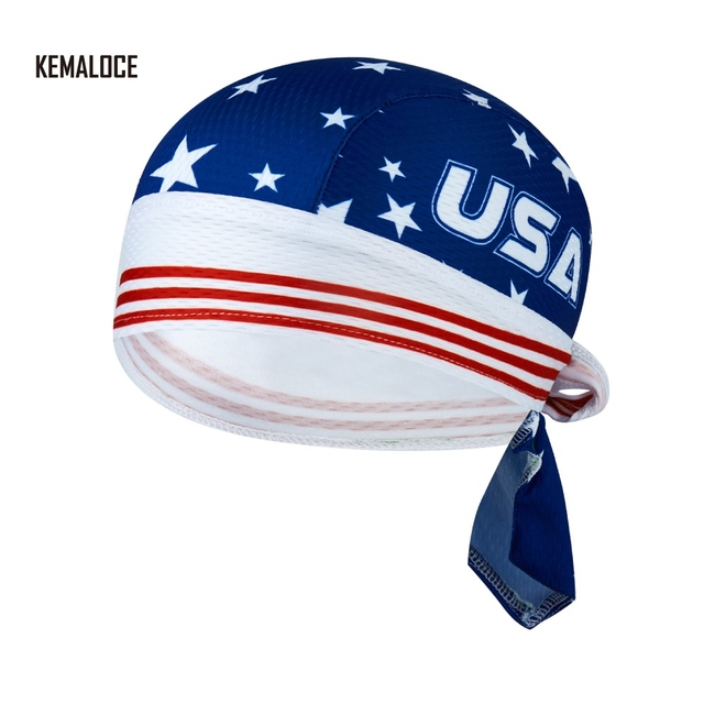 b73a435fcb0 High Quality 100% Polyester Head Blue USA Team Man Cycling head Cap Men  Quick dry