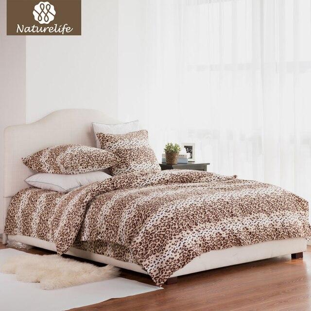 Naturelife 100% Cotton Bedding Set Leopard Duvet Cover Sets Soft Bed Linen Flat Bed Sheet Set Pillowcase 4PCS bed cover