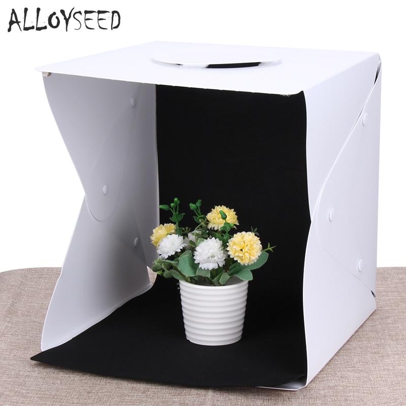 ALLOYSEED Mini Pliage Lightbox Photographie Photo Studio Softbox LED Lumière Douce Boîte Photo Fond Kit Pour Téléphone Appareil Photo REFLEX NUMÉRIQUE