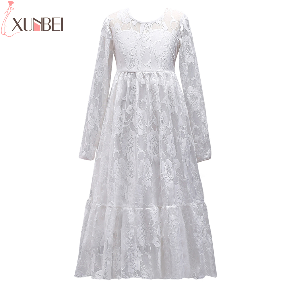 Pretty White Lace Long   Flower     Girl     Dresses   2019 Long Sleeves Pageant   Dresses   For   Girls   O Neck Communion   Dresses   vestido comunion