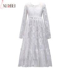 Красивые белые кружевные Длинные для девочек в цветочек платья 2018 одежда с длинным рукавом Нарядные платья для девочек с круглым вырезом Платья для церемонии причастия vestido comunion