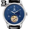 Роскошные швейцарские часы BINGER  мужские японские чайки  автоматическое движение  турбийон  Sapphire  Alligator  мужские часы  B80805-2